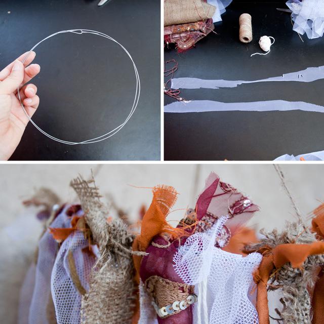 Lampra boho DIY con elementos reciclados, pasos