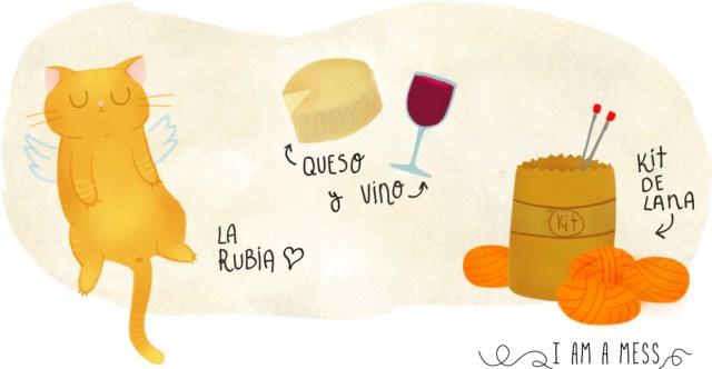 excusas, rubia, queso, vino y kit lanero