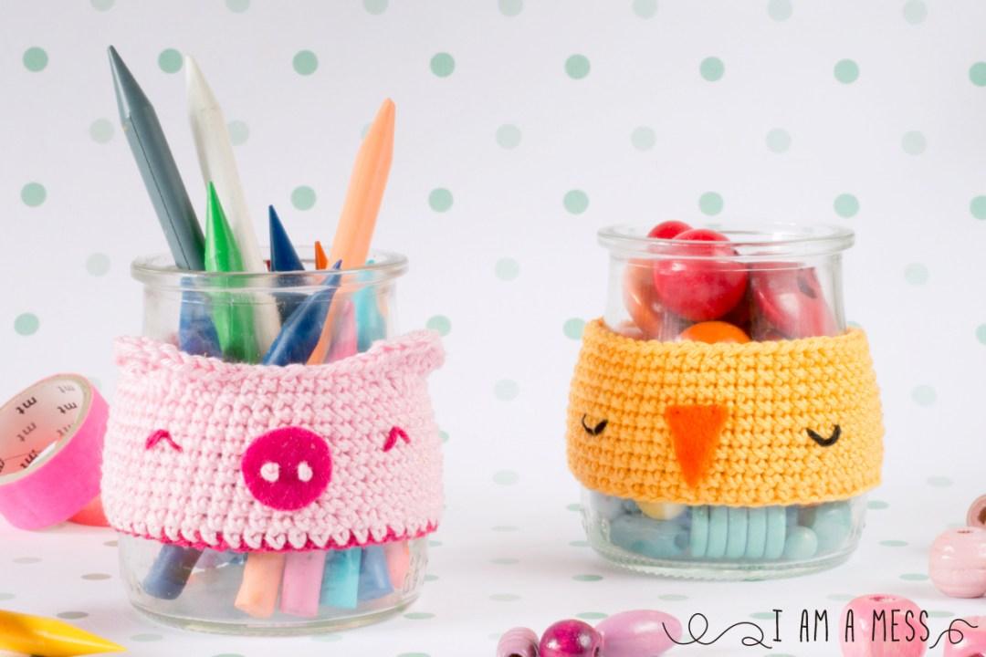 """DIY crochet animal jar cosy by """"I am aMess"""""""