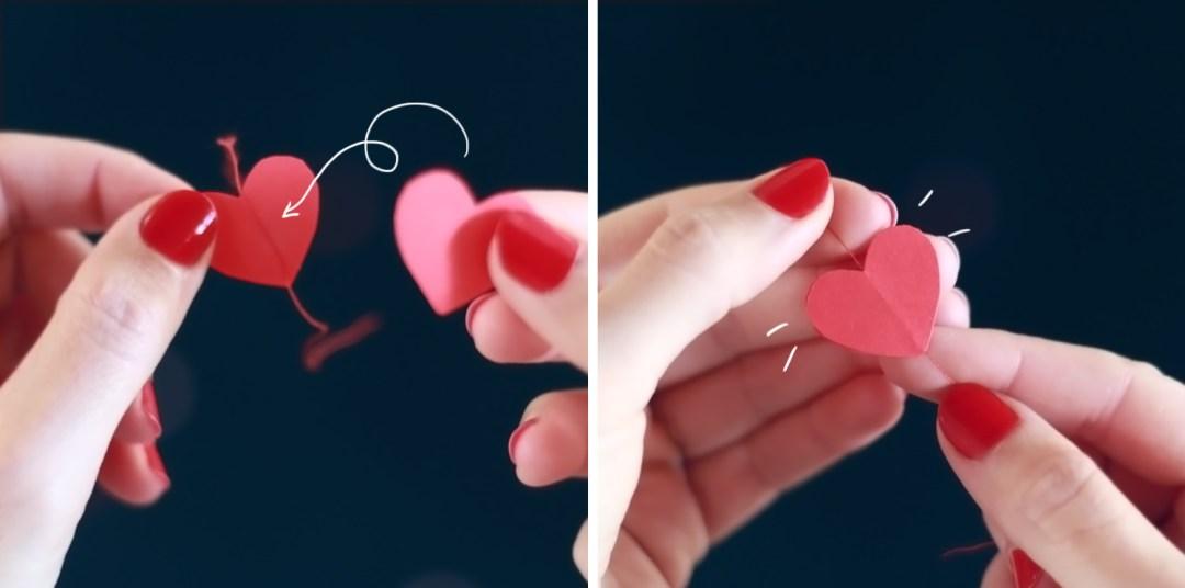 DIY guirnalda de corazones, cosiendo los corazones