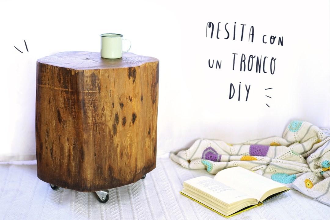 """Cómo hacer una mesa con un tronco diy, visto en """"I am a Mess Blog"""""""