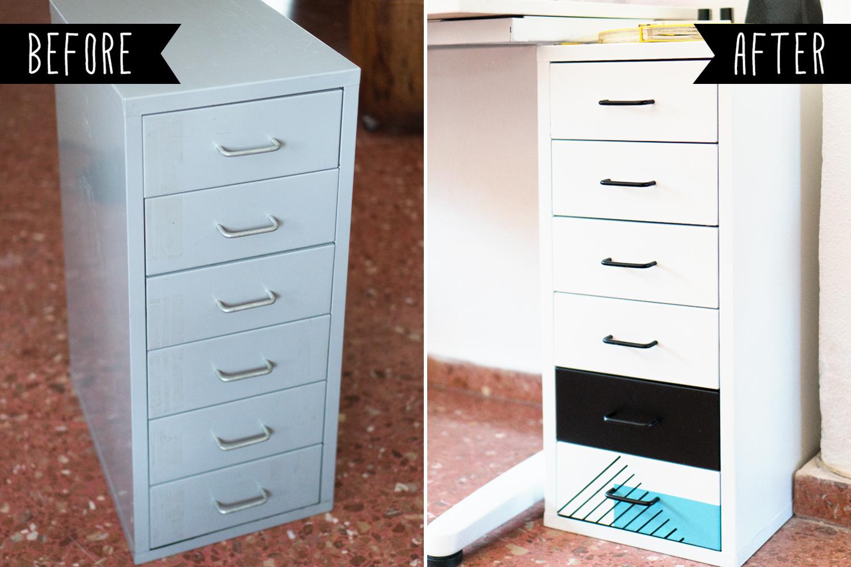 Antes y después de la cajonera Helmer de Ikea, Ikea Hack visto en