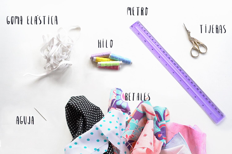 Materiales para hacer coleteros de tela DIY paso a paso, visto en