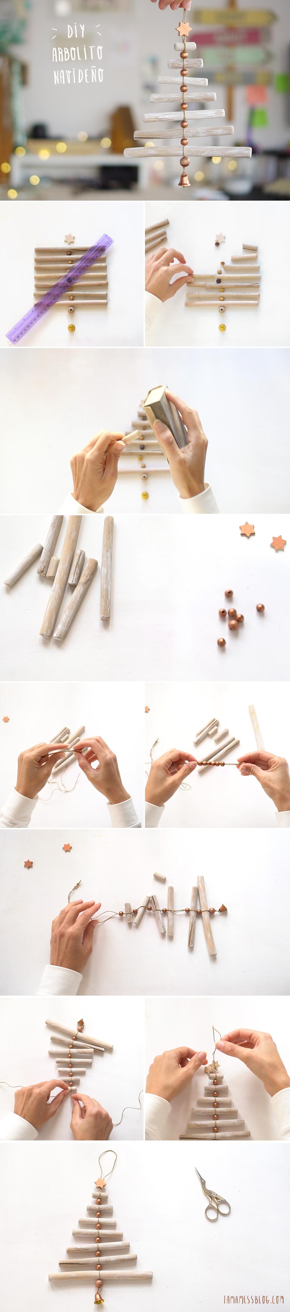 Decora tu navidad con este mini Arbol de navidad DIY, visto en IamaMess blog