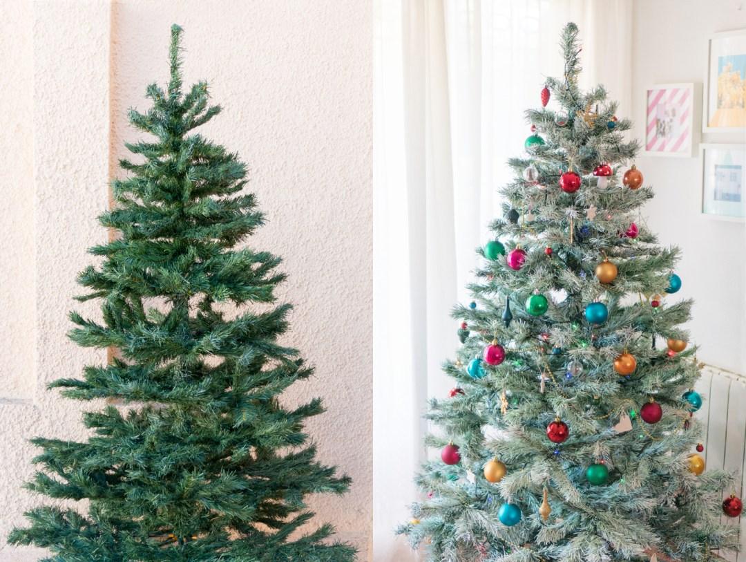 """Antes y después, pintar el árbol de navidad, visto en """"I am a mess blog"""""""