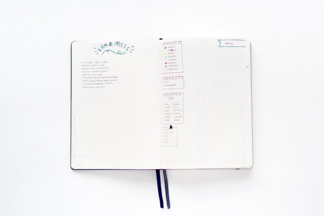 """Tareas y anotaciones en el Bullet Journal. Visto en """"I am a Mess Blog"""""""