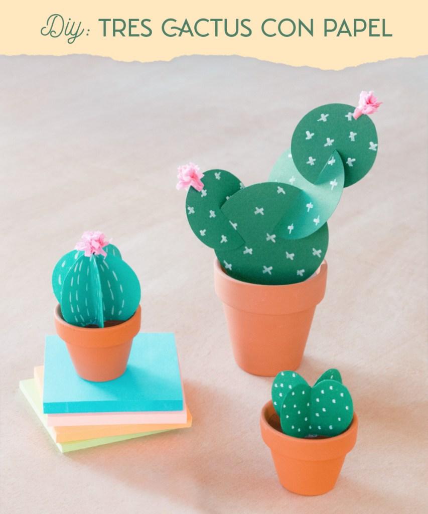 Tres formas diferentes de hacer cactus de cartulina