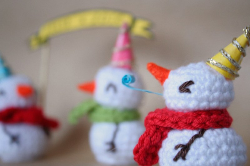 "Crochet snowman, Visto en ""I am a Mess Blog"""