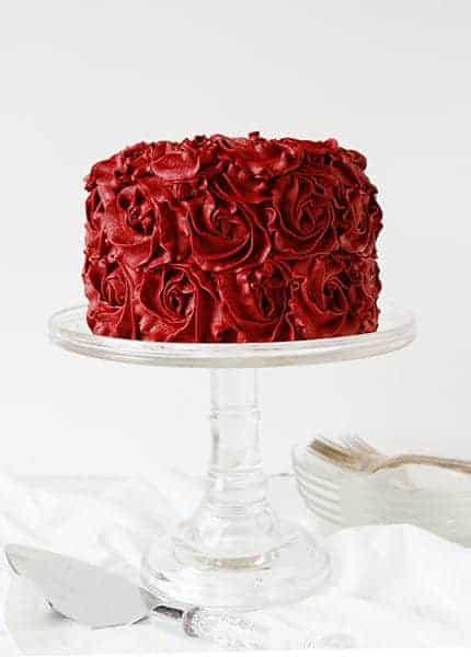 Red Velvet Buttercream Rose Cake I Am Baker
