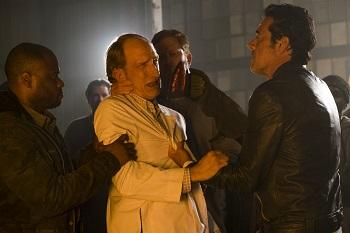 Jeffrey Dean Morgan as Negan, Tim Parati as Dr Emmit Carson- The Walking Dead _ Season 7, Episode 11 - Photo Credit: Gene Page/AMC