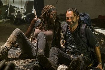 Andrew Lincoln as Rick Grimes, Danai Gurira as Michonne- The Walking Dead _ Season 7, Episode 12 - Photo Credit: Gene Page/AMC