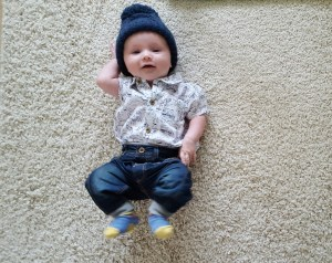 rlt in next shirt bodysuit, mothercare hat and mamas and papas jeans