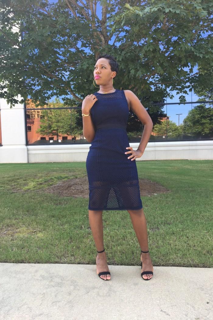 Navy Lace-Mesh Sheath Dress