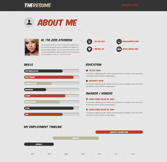 Resume Website Template 20 free and premium resumecv html website templates and layouts designmodo 20 Top Cv Website Template Designs For You