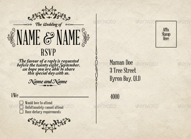 Free Postcard Invitation Templates Printable  Ctsfashion