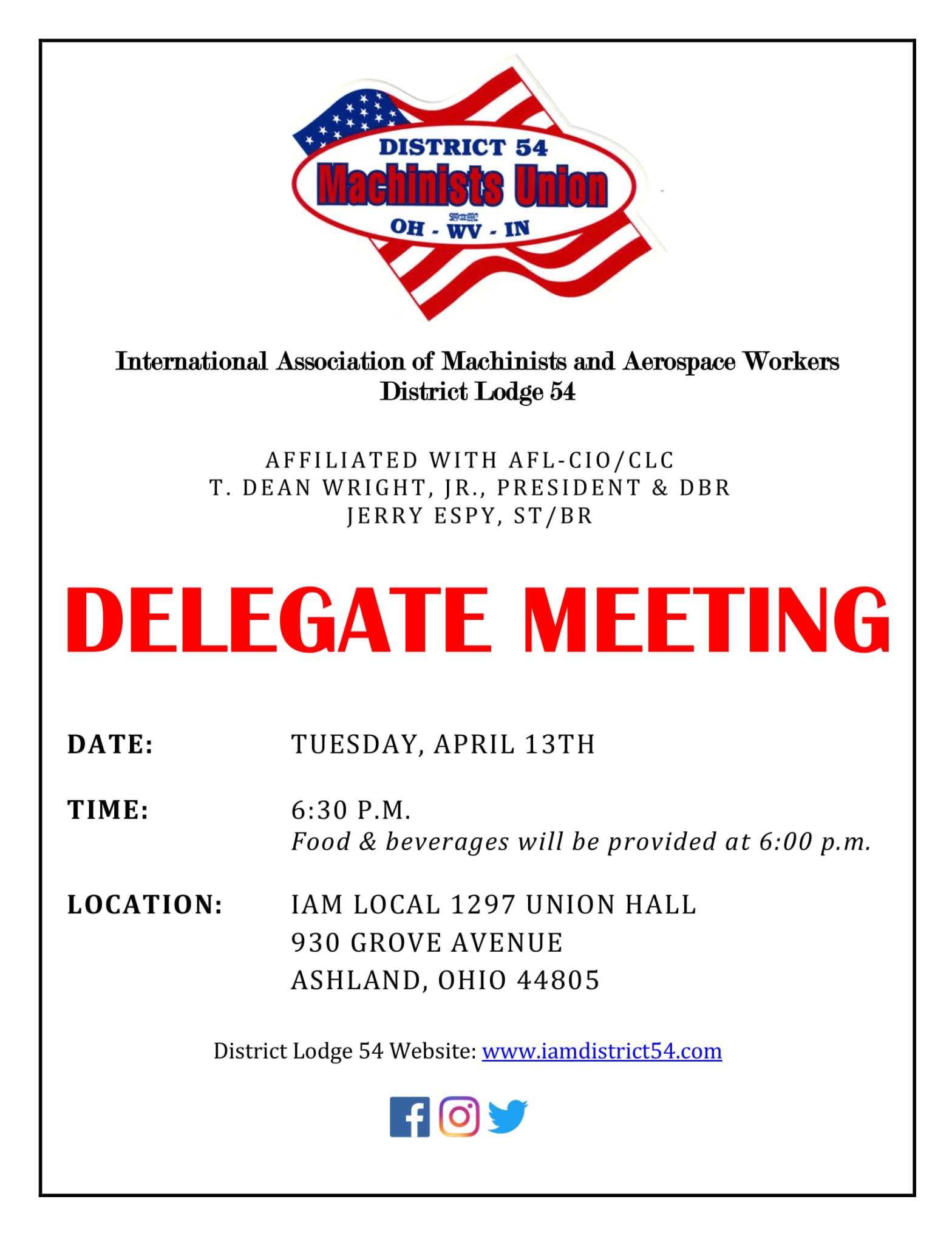 April 2021 Delegate Meeting Notice