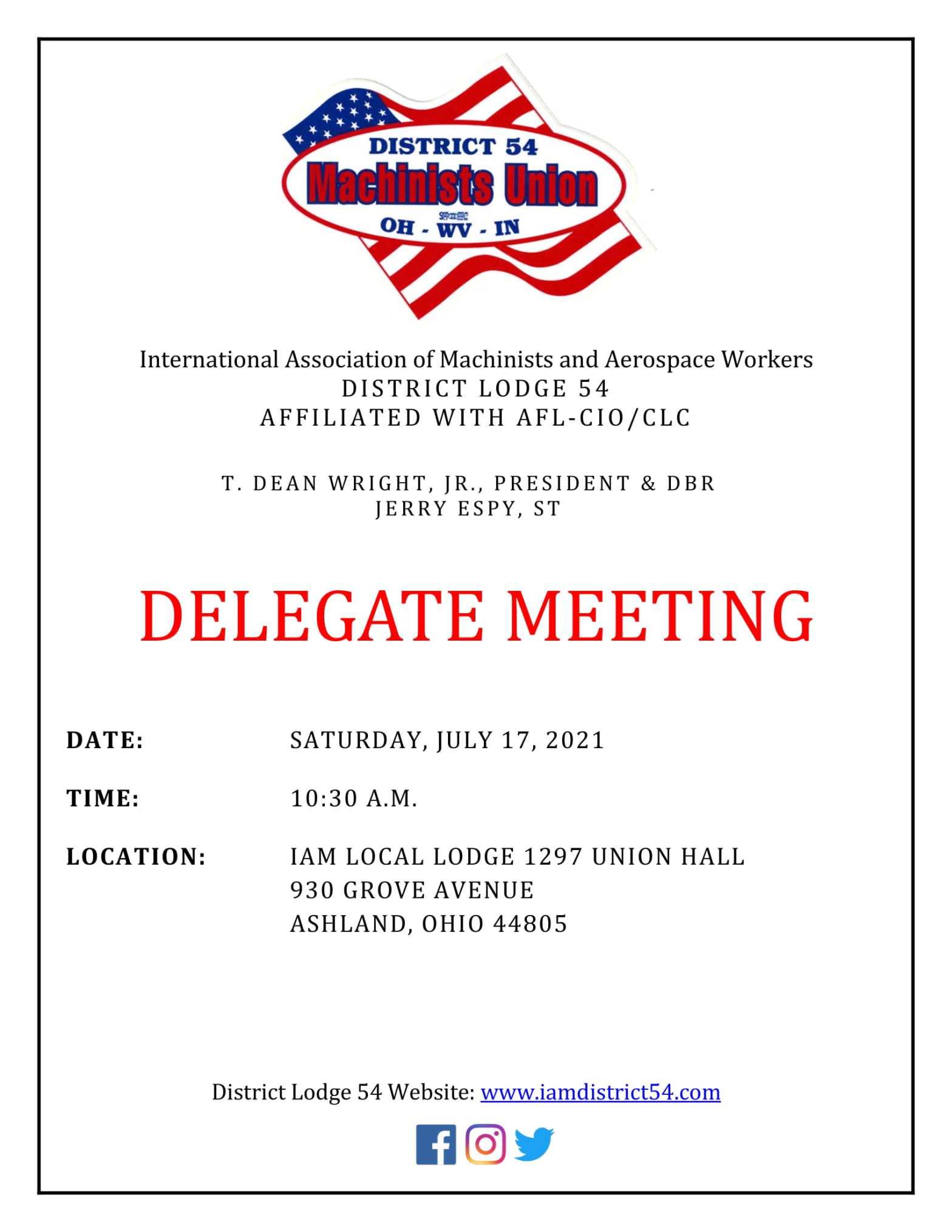 July Delegate Meeting Notice 2021