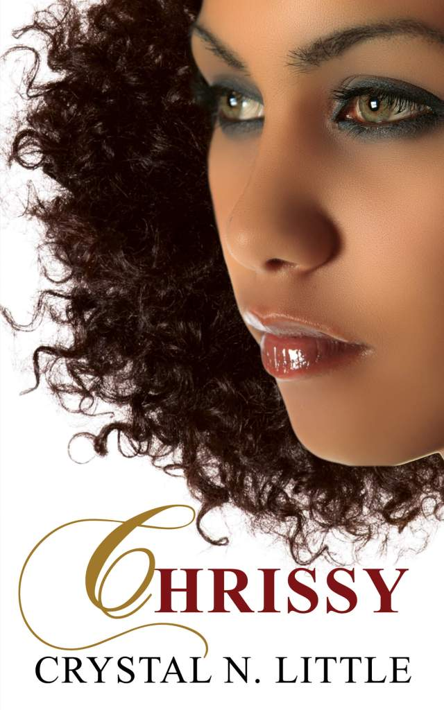 Chrissy book cover design Iamgonegirldesigns Beautiful African American Woman Green Eyes Curly Kinky Hair Medium Dark Mocha Complexion african descent girl lady woman pretty white background