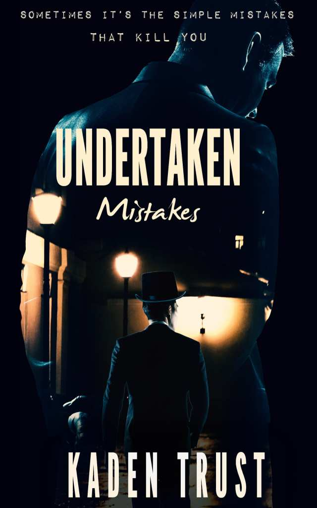 Undertaken mistakes book cover design Iamgonegirldesigns dark mysterious double exposure man top hat killer murder thriller
