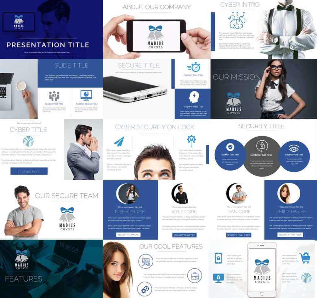 Cyber Solutions Professional Clean PowerPoint Presentation blue white minimalistic