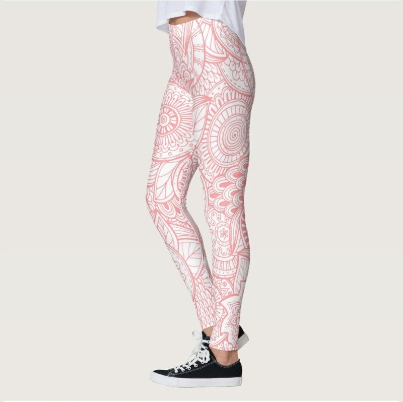 Bohemian Abstract Floral Pink and White high waisted yoga Leggings For women