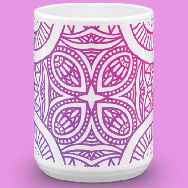 gradient purple mandala mug