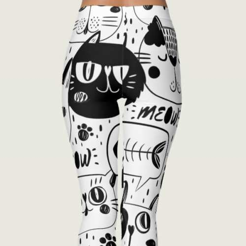 Black Cat Print Leggings