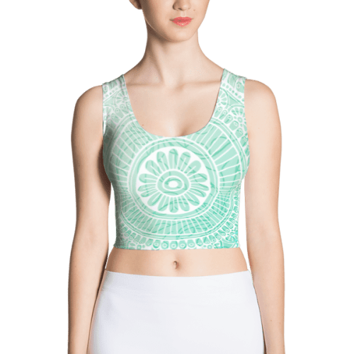 Abstract Baby Blue Crop Top