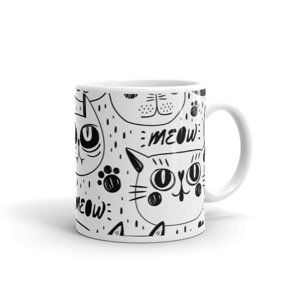 Black and White Cats Multi Pattern Coffee Mug