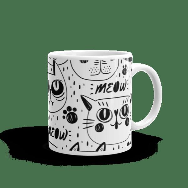 Black and White Cats Multi Pattern Coffee Mug