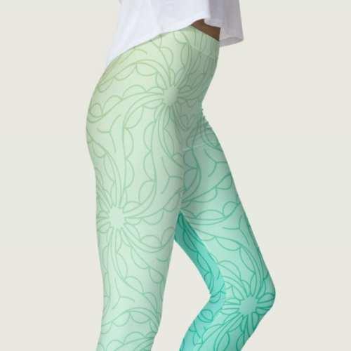 Turquoise Light Sea Blue Two-Tone Print Leggings