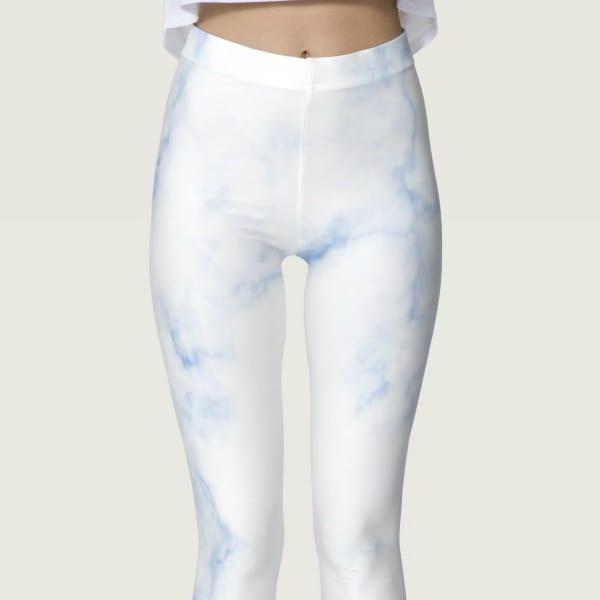 Classic Blue Hued Marble Rock Textured Leggings