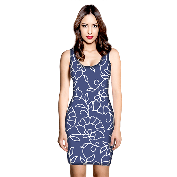 Blue and White Floral Pattern Dress