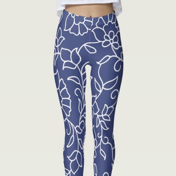 Dark Blue and White Floral Pattern Leggings