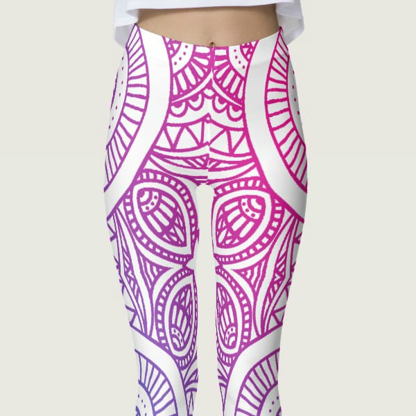 """Captivate Me!"" Gradient Mandela Women's Leggings white pink purple yoga pants"