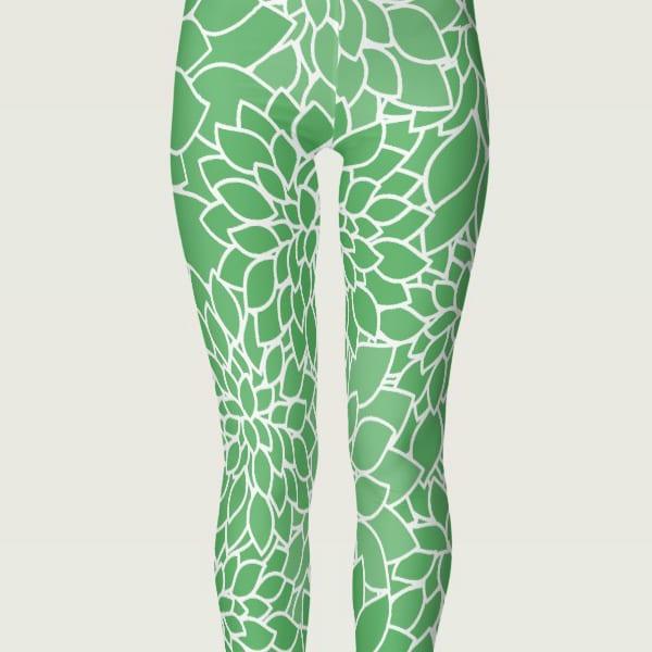 floral womens leggings colorful green
