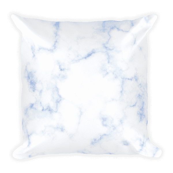 Classic Blue Hued Marble Rock Textured Square Pillow