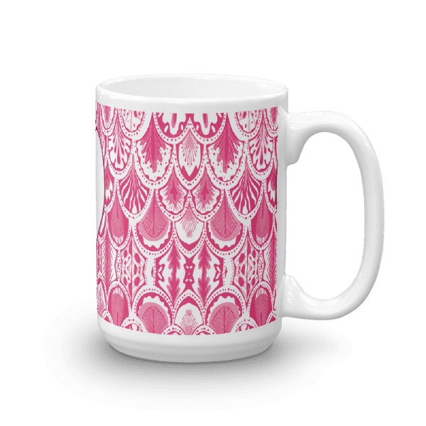 beautiful abstract pink, and white feather patterned mug