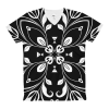 Black and White Floral Butterfly Women's V-Neck T-Shirt