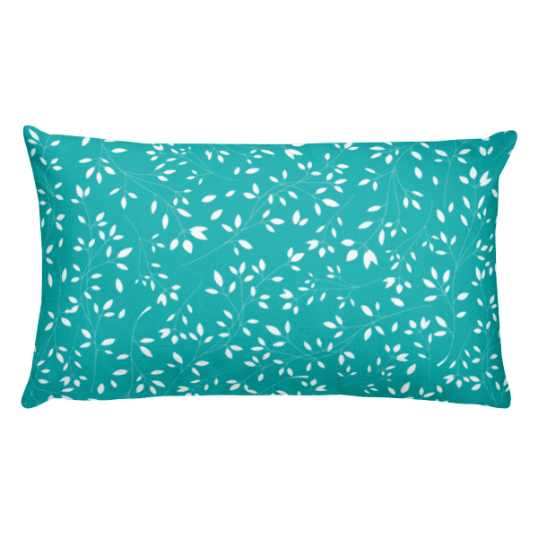 Baby Blue and White Floral Leaves Pillow
