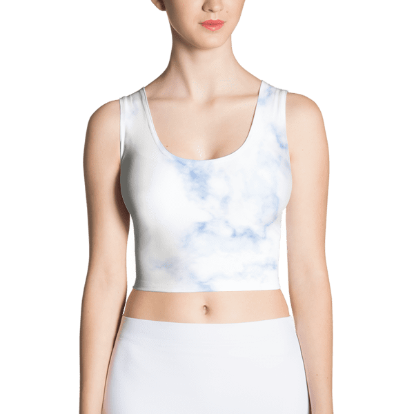 Classic Blue Hued Marble Rock Textured Crop Top