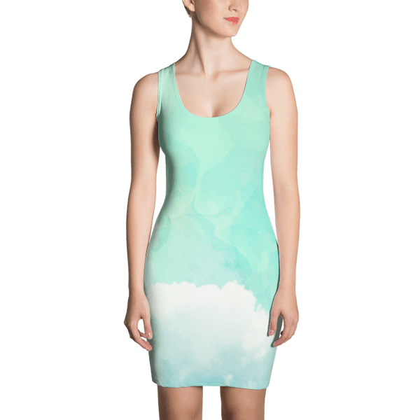 Blue Green Water Color Sky Dress