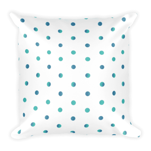Watercolor Polka Dot Square Pillow