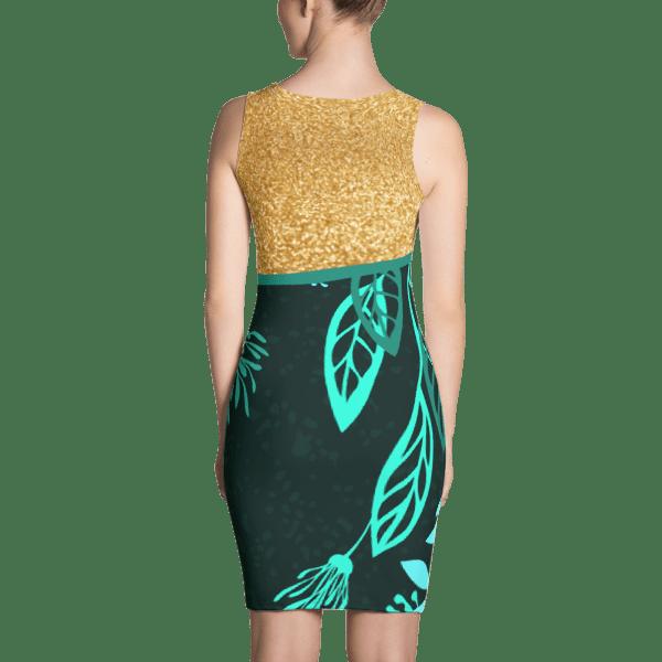 Floral Golden Blue Green Dress