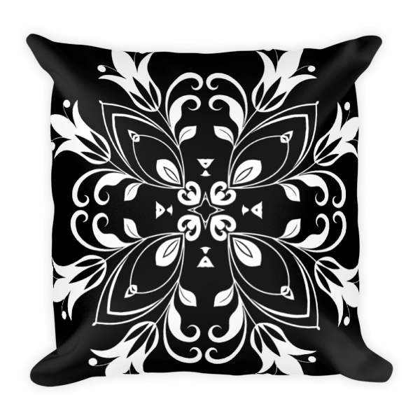 Black and White Floral Butterfly Square Pillow