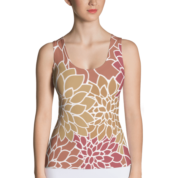 Abstract Leafy Multi-color Tank Top