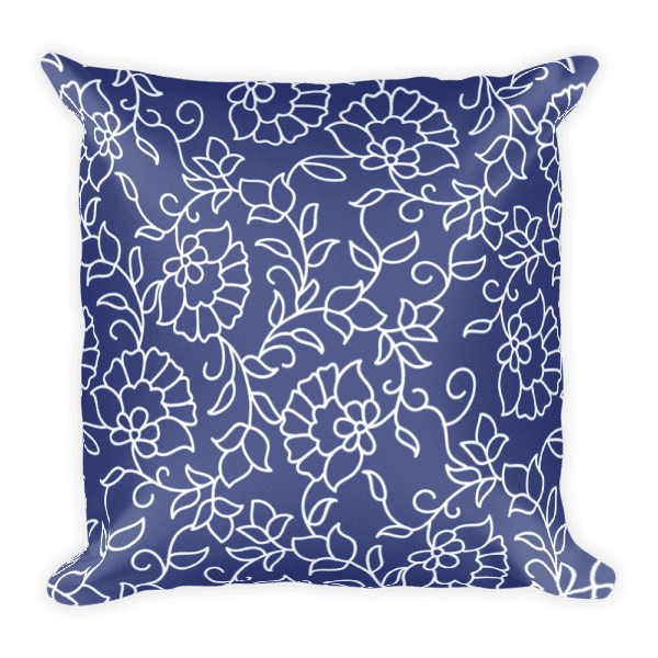 Blue and White Floral Pattern Square Pillow