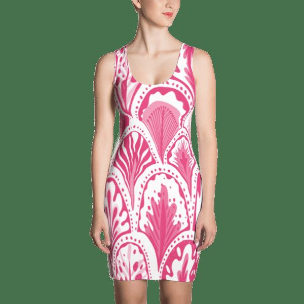 Abstract Hearts Pink Dress