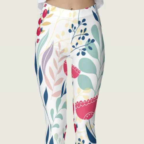 Beautiful Multicolored Earthy Floral Women's Leggings