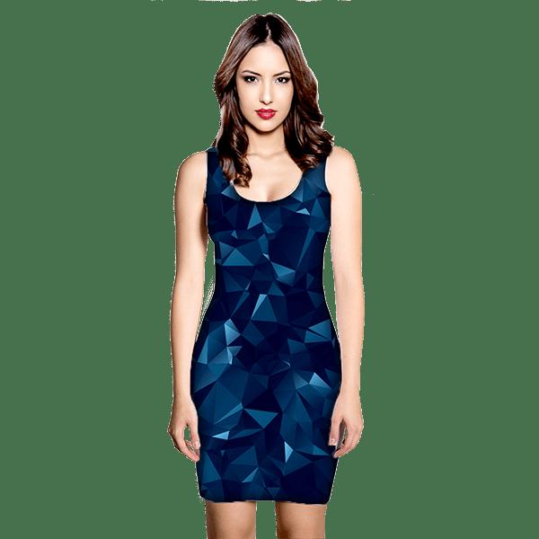 Blue Abstract Polygonal Mesh Dress